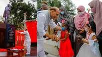 ഭാരത് മാതാ കീ ജയ് വിളികളുമായി പെണ്കുട്ടികള്; പ്രതിരോധമന്ത്രിയെ സ്വീകരിച്ച് ഉമ്മമാര്; ലക്ഷദ്വീപില് ഗാന്ധിപ്രതിമ അനാച്ഛാദനം ചെയ്ത് രാജ്നാഥ് സിങ്ങ്