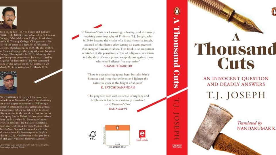 പ്രൊഫ. ടി.ജെ ജോസഫിന്റെ ആത്മകഥയുടെ ഇംഗ്ലീഷ് പതിപ്പ് പുറത്തിറങ്ങുന്നു; എ തൗസന്റ് കട്ട്സ് വിവർത്തനം ചെയ്തത് വള്ളത്തോളിന്റെ കൊച്ചുമകൻ